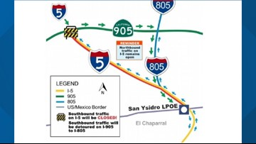 Border-area stretches of I-5, I-805 to be closed for San Ysidro Port-of-Entry project