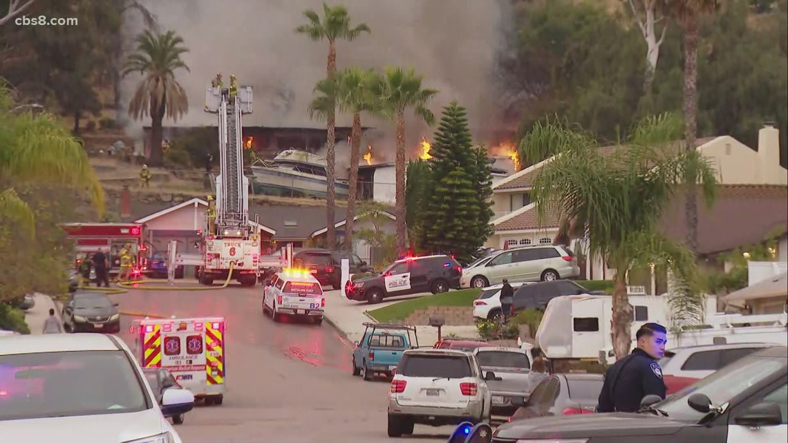 Home in El Cajon goes up in flames