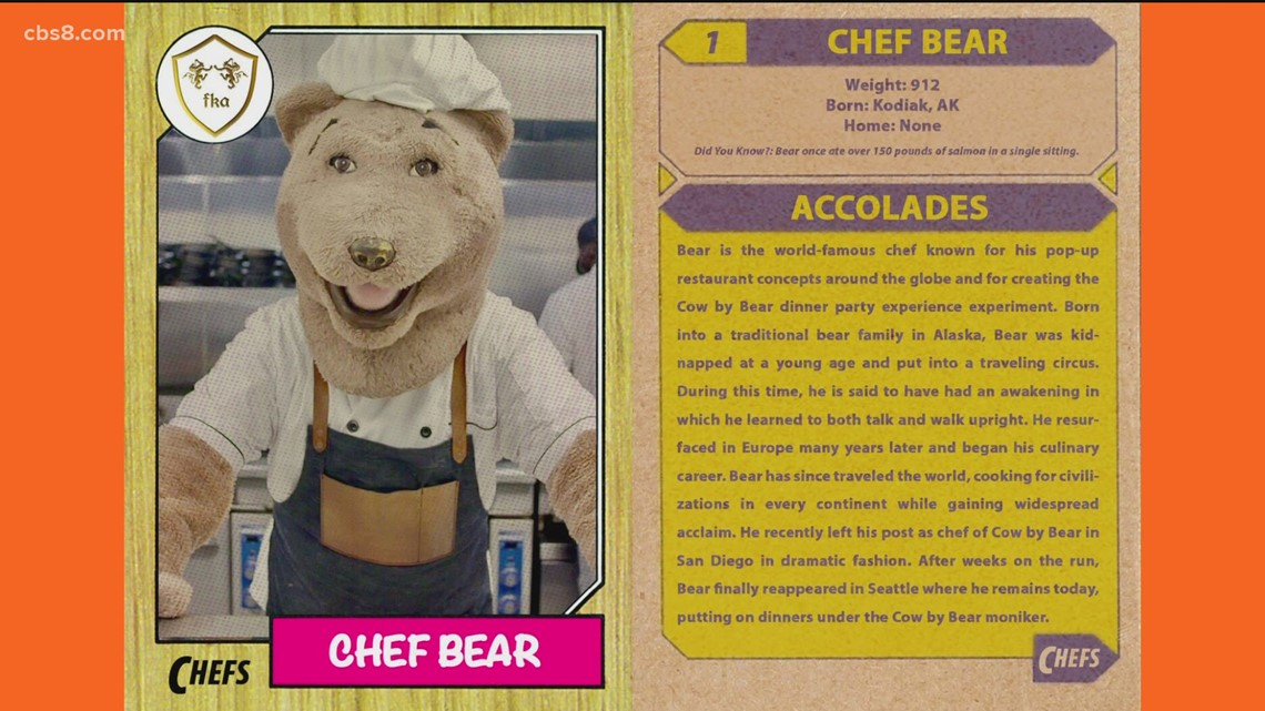 Chef Bear holding Cow by Bear Dinner Parties