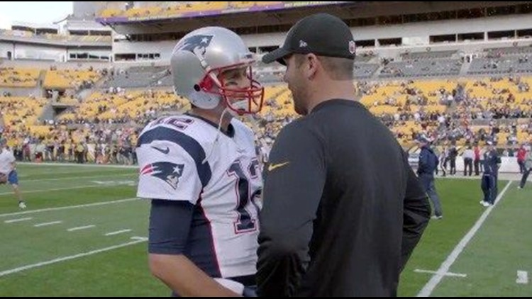 c18a51fc9 Watch  Steelers  Roethlisberger asks rival Tom Brady for his jersey.  Steelers quarterback Ben Roethlisberger has been caught on camera asking  his AFC ...