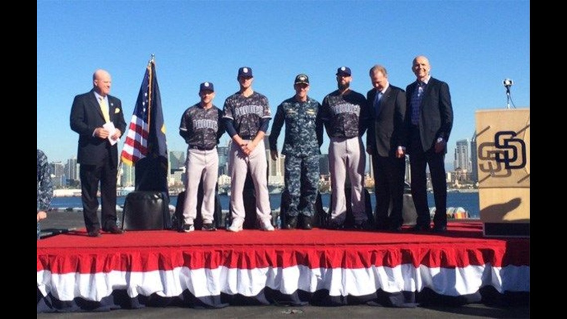 9c21b0e20b0 Padres unveil Navy digital camo jersey on flat top