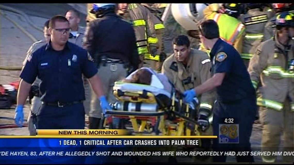 1 dead, 1 hurt after car crashes into palm tree | cbs8 com