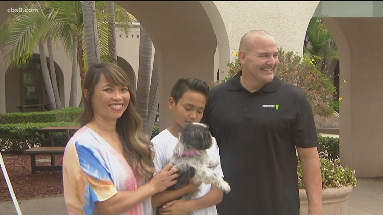San Diego police detective who lost leg in crash adopts double amputee dog