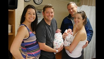 Sisters deliver babies on same day, in same hospital, with same doctor