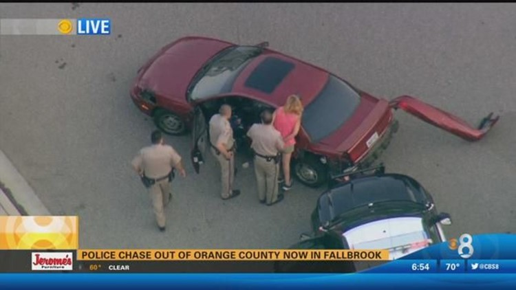 Chopper Raw Video: High-speed chase out of Los Angeles County ends in  Fallbrook