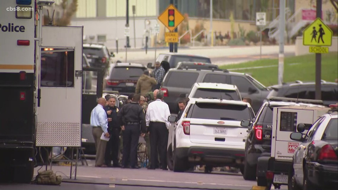 San Diego police, SWAT search for 2 suspects downtown after shots fired during car chase