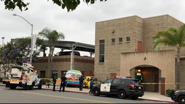 Ice cream truck hits pedestrian, power box and SDPD building