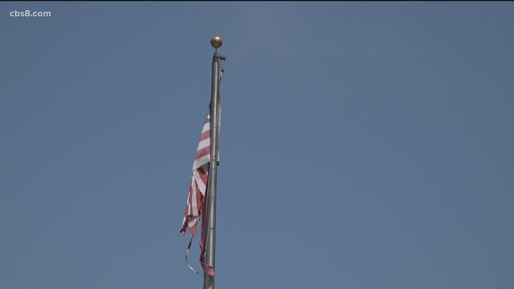 San Diegans urge the El Cortez to fix ripped and tattered American flags for Independence Day