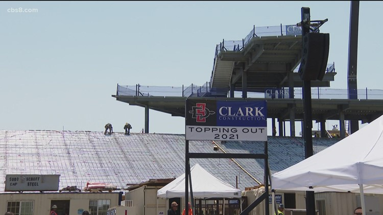New SDSU stadium celebrates big milestone with topping out ceremony