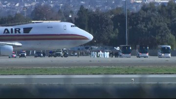 Charted flight from China to Ontario arrives at March ARB in Riverside