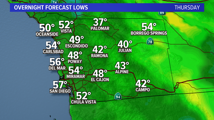 Overnight Lows -- Thursday