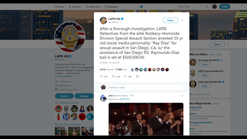 Social media personality arrested in San Diego for alleged sexual assault of teen girl
