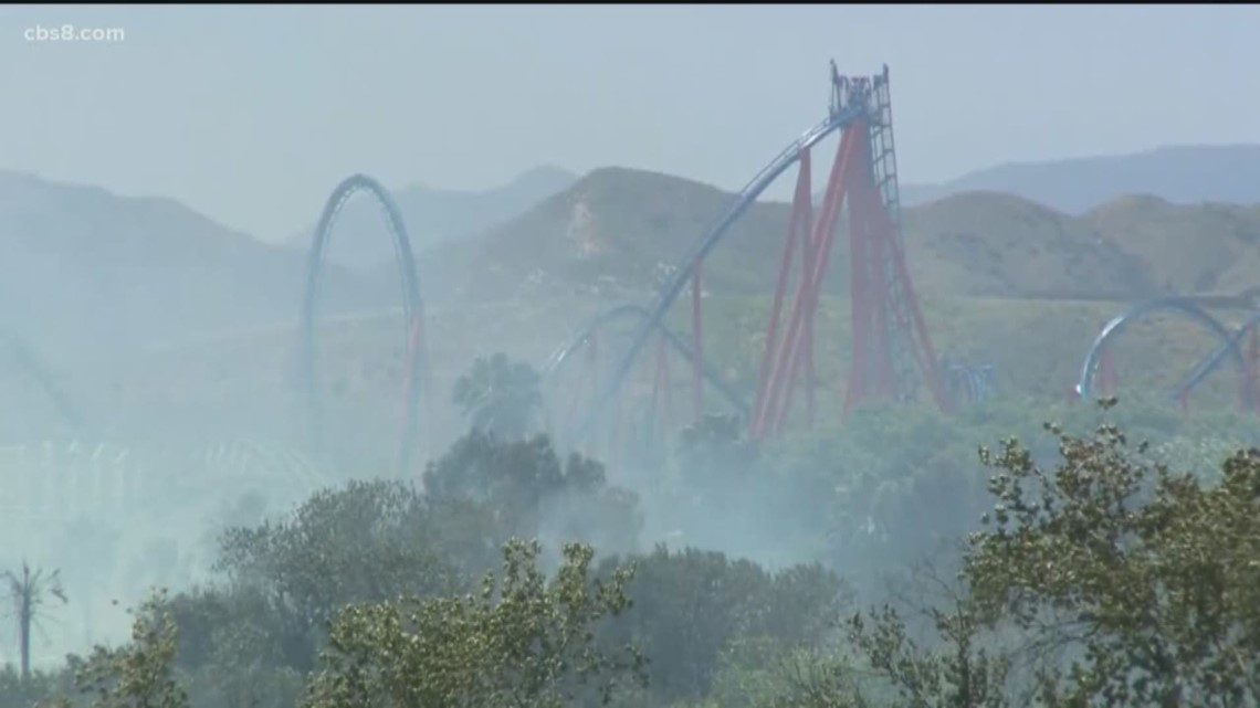 Gas Prices San Diego >> Brush fire prompts evacuation at Six Flags Magic Mountain ...