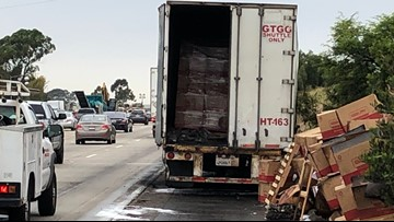 Strawberry truck catches fire, causes big delays on I-5 near Encinitas