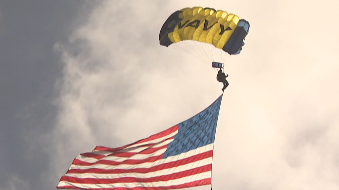 High-flying Navy parachuters take to the skies above San Diego