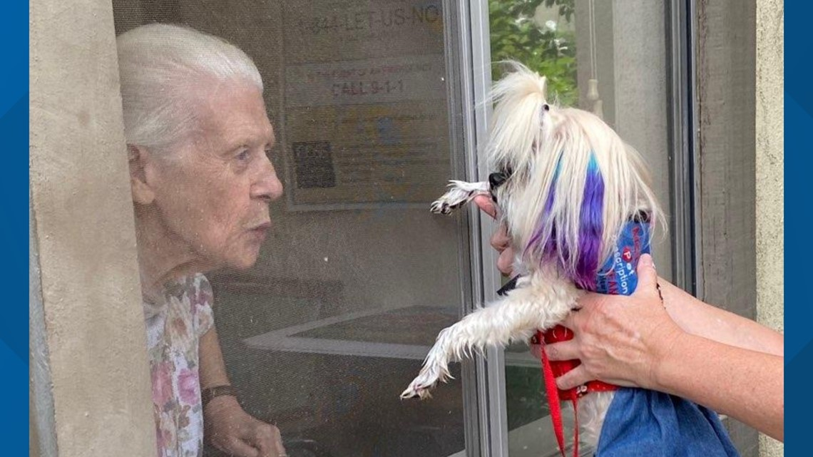 elderly woman blows kiss to dog