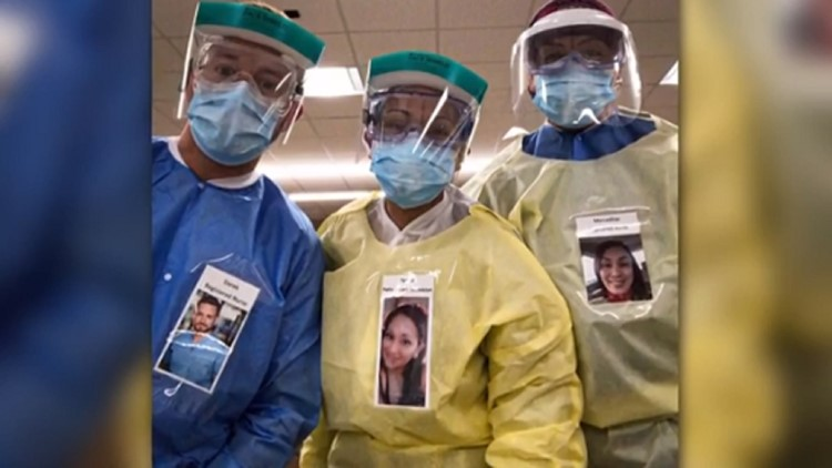 San Diego healthcare worker laminates smiling photo on protective gear, sparking others to follow suit and comfort patients