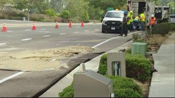 Water main break shuts down intersection in Carmel Valley
