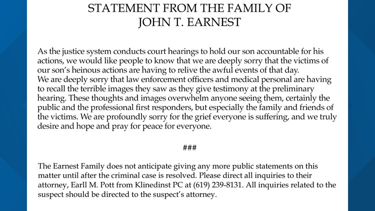 Earnest family statement