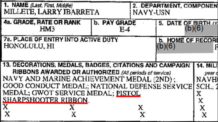 Military record for Larry Millete includes 'pistol sharpshooter ribbon'