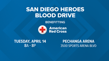 Kyle Kraska invites you to the San Diego Heroes Blood Drive on April 14