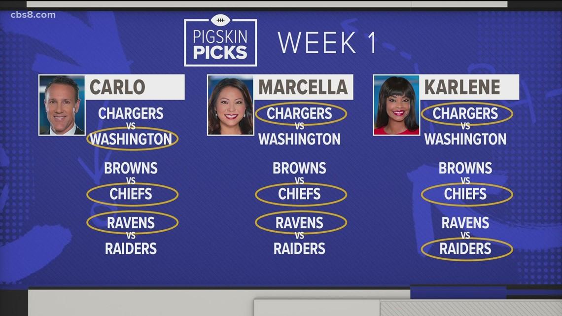 CBS 8 evening anchors share their Pigskin Picks for Week 1