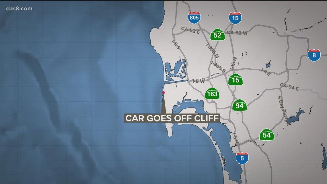 Mother, child rescued after car goes off cliff in Ocean Beach