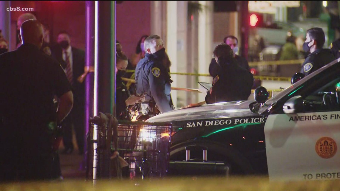 San Diego Police respond to man allegedly wielding a knife in the Gaslamp