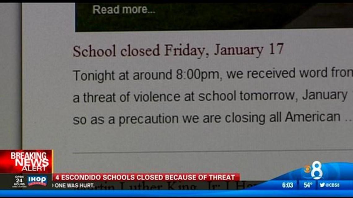 4 Escondido charter schools closed over threat | cbs8 com