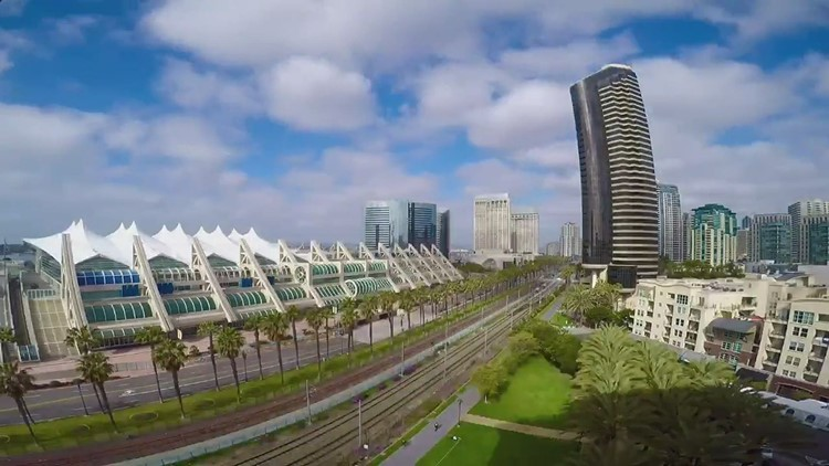 Time lapse of downtown near Convention Center in San Diego