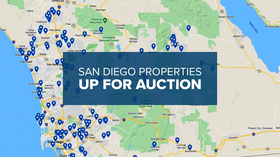 San Diego County has 279 properties up for auction. Here's the list.