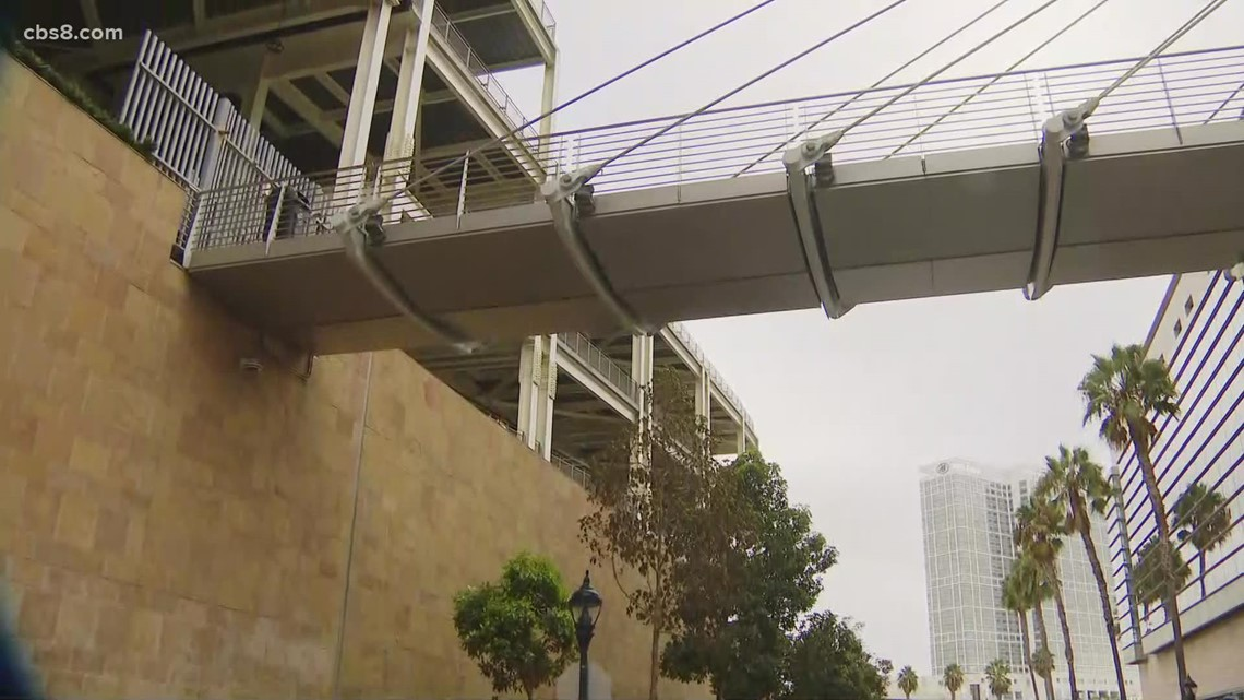 Woman and child dead after falling from pedestrian bridge near Petco Park