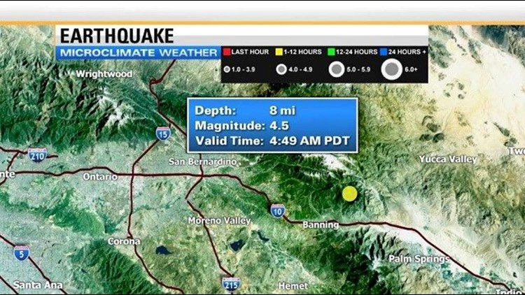 Earthquake Riverside WX map
