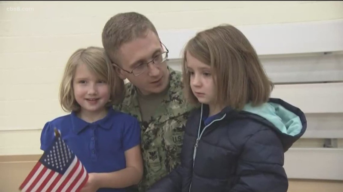 Navy father returning from deployment surprises daughters at Vista school