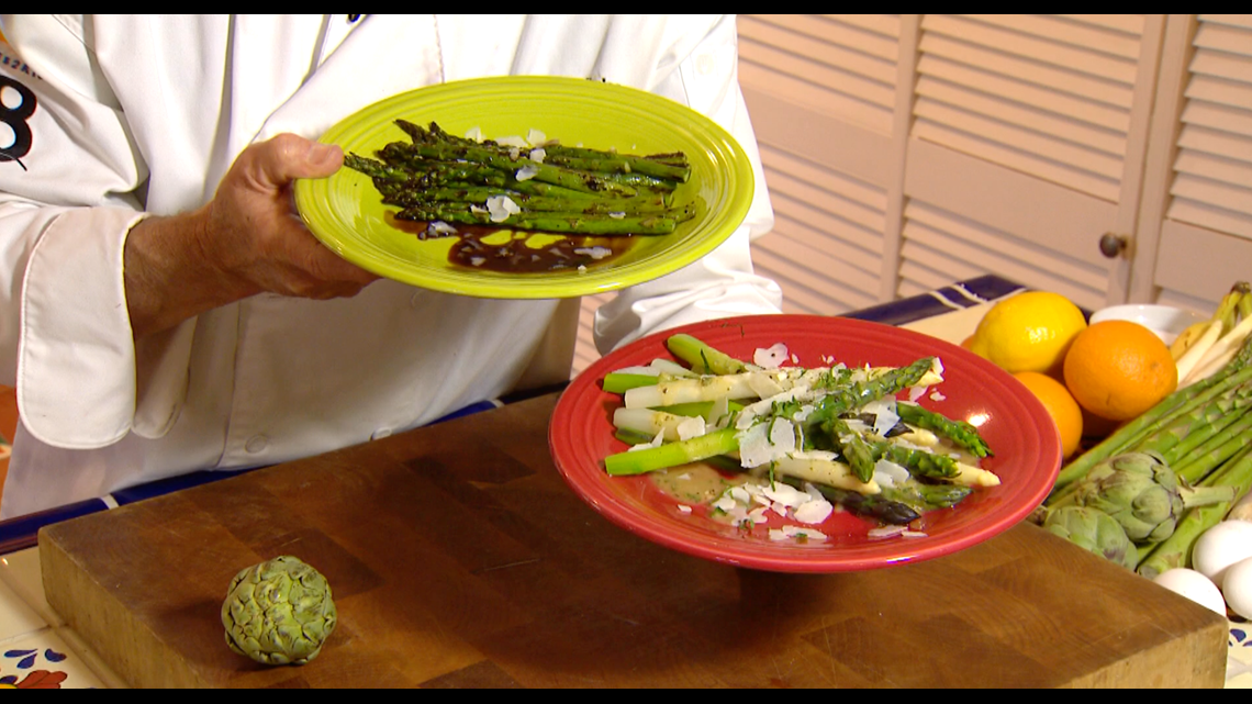 Cooking with Styles: Vinaigrette on poached asparagus and pan-seared asparagus with a balsamic glazed