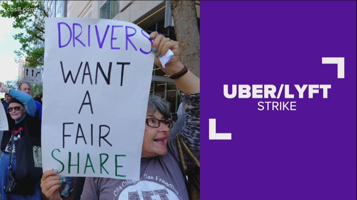 San Diego Uber and Lyft drivers strike for higher wages