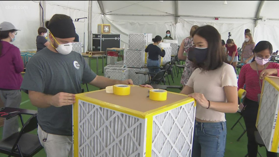 UCSD students, staff build filtration boxes to prevent spread of COVID in classrooms