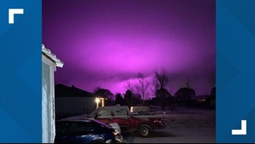 Medical marijuana farm lights create purple hazy sky over Snowflake, AZ