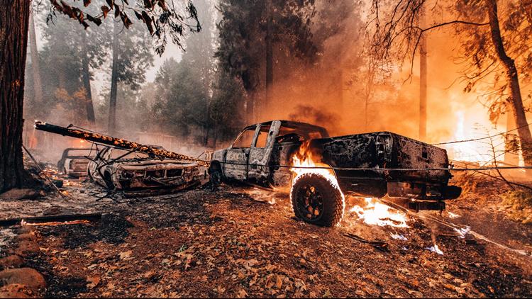 Truck Burns in Camp Fire