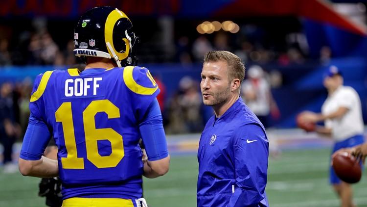 Sean McVay Jared Goff New England Patriots-Los Angeles Rams Super Bowl Football