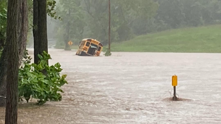 Students rescued from school bus stuck on flooded bridge in Maryland