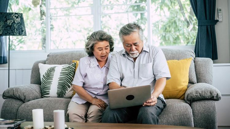 Senior couple talking with laptop computer