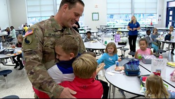 National Guardsman surprises kids at Virginia Beach elementary school after 297-day deployment